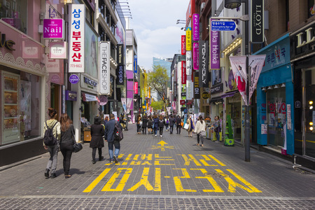 Seoul, South Korea - April 13, 2015: Myeongdong is one of Seoul Editorial