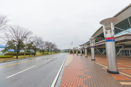 area of conflict: Dorasan South Korea  April 14 2015: Dorasan Railway Station recently built in DMZ South Korea. Dorasan was built to restore the traffic between the two Koreas after the reunification.