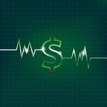signo pesos: Dólar concepto cartel con pulsaciones