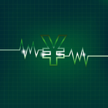 yen sign: Yen concepto sesi�n con pulsaciones