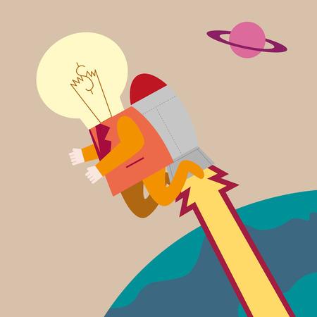 mosca caricatura: Hombre de negocios con la bombilla en la cabeza del cohete