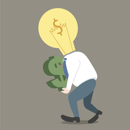 Businessman light bulb on head get dollar in hand