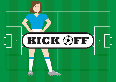 kick off: Women with soccer field kick off concept