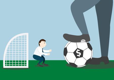 goalkeeper: Businessman with football and goalkeeper