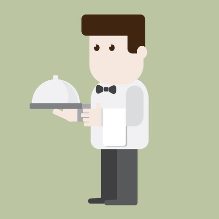 Waiter character ready to server