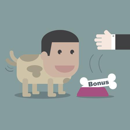remuneraciones: El perro feliz con el hueso en concepto de negocio Vectores