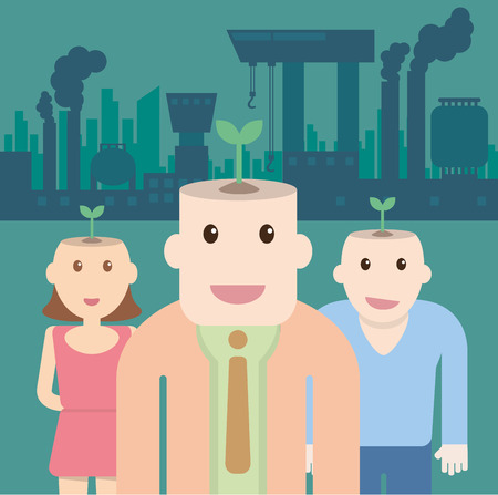 Ecological concept with Plant on head people and factory pollution Illustration