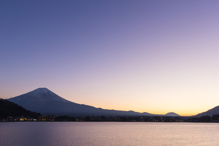 Sunset of Mt fuji and the city around kawaguchi lake, japan