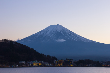 Twilight of Mt fuji and the city around kawaguchi lake, japan
