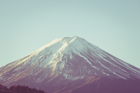 MT fuji closeup retro style Stock Photo