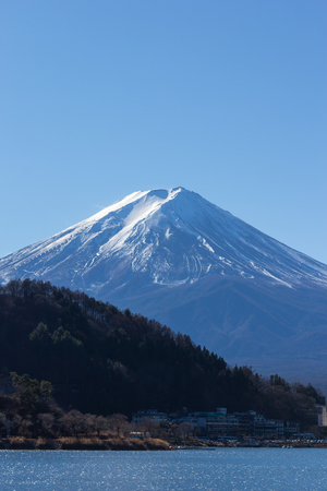 MT fuji kawaguchiko lake on blue sky Stock Photo