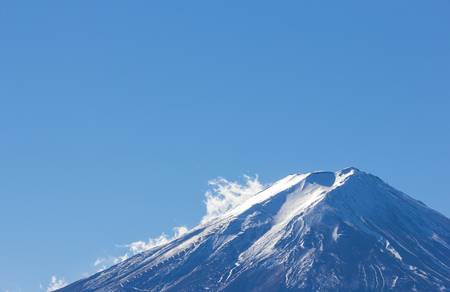 On top MT fuji blue sky with cloud