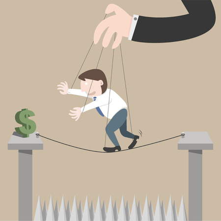 dangerous ideas: Business man to risk for money with manipulate behind the scene Illustration