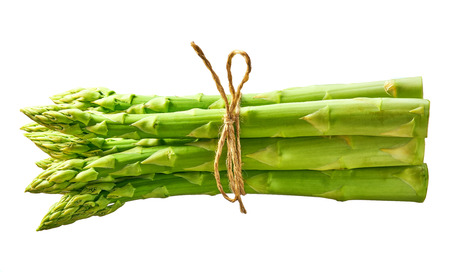 Fresh green shoots of asparagus isolated on white background.Bunch of fresh asparagus Stock Photo