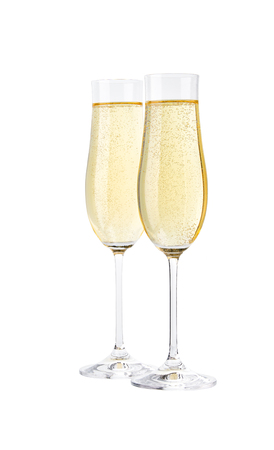 Glasses of sparkling champagne isolated on white.Merry Christmas and Happy New Year concept 写真素材