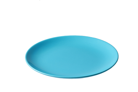 Empty ceramic blue plate isolated on white background,with clipping path, top view