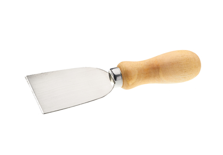 Cheese knife with wooden handle isolated on white background Banco de Imagens