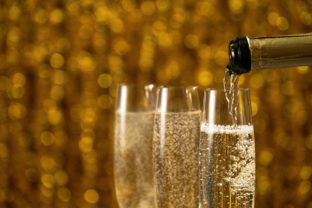 Many glasses of champagne or prosecco Horizontal format