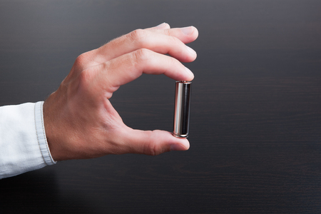 The batteries on a black background, an independent source of energy.