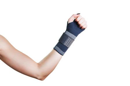 Schmerzen im Handgelenk, und der Halter für eine schnelle Genesung. Lizenzfreie Bilder