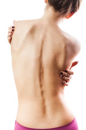 Die Rückseite eines Mädchen mit einer sauberen Haut.