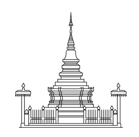 the temple: Thai Pagoda Illustration