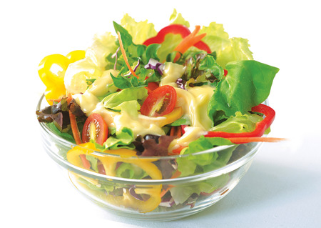 salad in transparent bowl photo