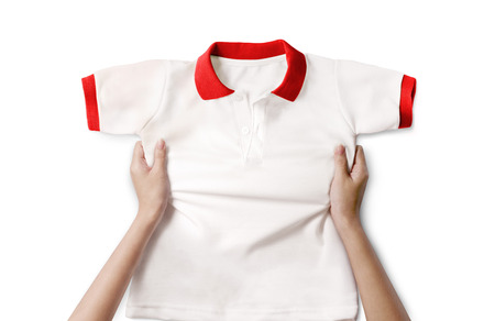 hand hold polo shirt photo