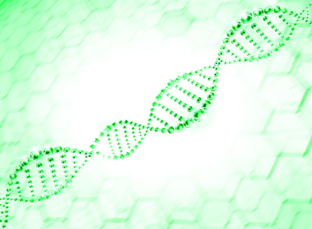 dna sequencing: green molecule dna cell illustration