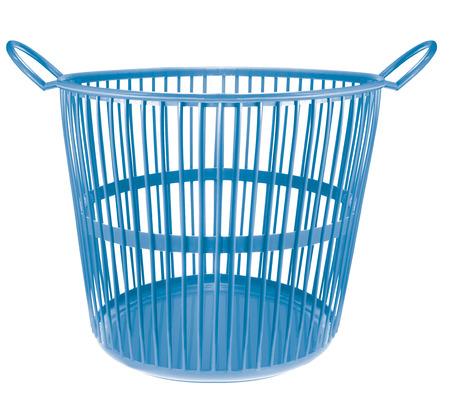 wastebasket: blue color plastic basket on white background