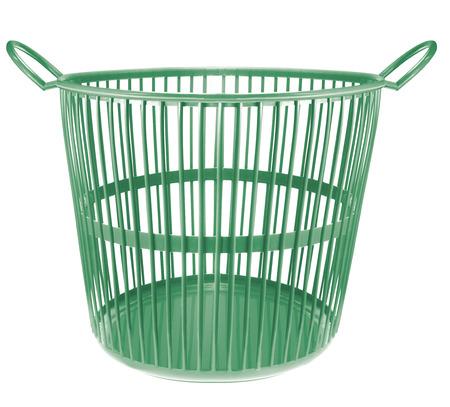 wastebasket: green color plastic basket on white background