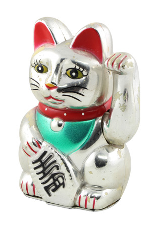 Silver Maneki Neko Japan Lucky Cat photo