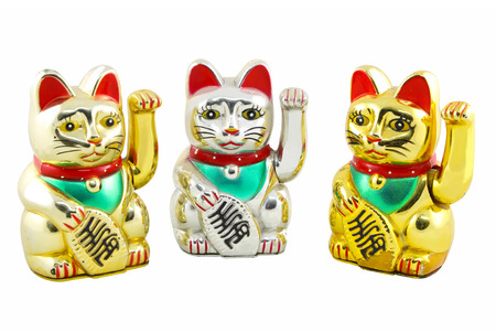 Triple Maneki Neko Japan Lucky Cat, Isolated with Clipping path photo