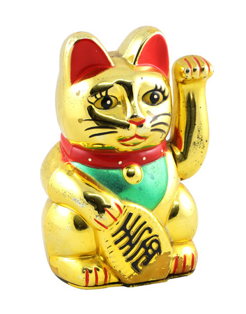 Gold Maneki Neko Japan Lucky Cat, Isolated with Clipping path2 Stock fotó
