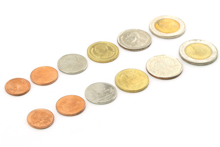 Thailand  coins isolated on white photo