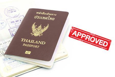 visa approved: Thailand passport visa stamp isolated Stock Photo