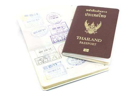 Thailand passport visa stamp isolated photo