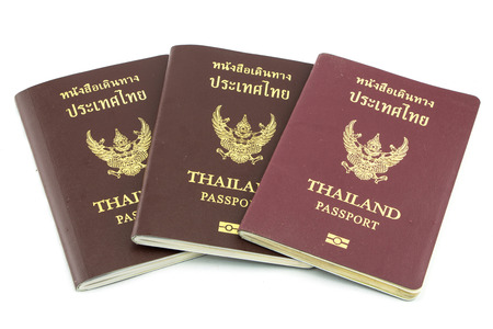 visa approved: Thailand passport  isolated on white Stock Photo