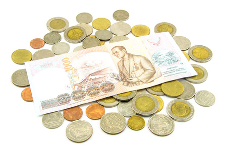 Thailand banknotes and coins photo