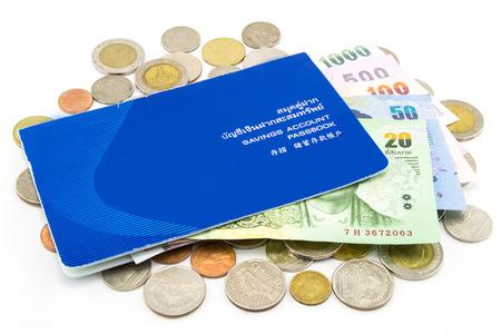 태국 동전과 계좌 통장 스톡 콘텐츠