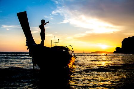 Sunset Rai Lay Beach Krabi Thailand photo