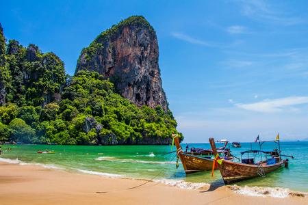 Many long tailed boat Mahya bay Krabi Thailand
