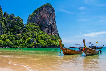Many long tailed boat Mahya bay Krabi Thailand Editorial