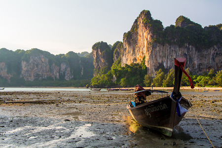 rai lay: long tailed boat Railay bay Krabi Thailand