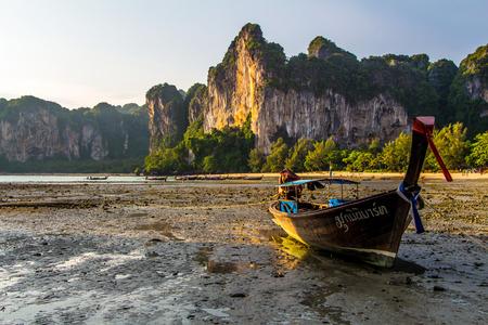 long tailed boat Railay bay Krabi Thailand
