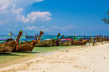 Many long tailed boat  Rai Lay Beach Krabi Thailand, Mahya bay, Maya bay Editorial