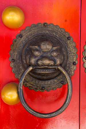 Handle door Chinese vintage style isolated with clipping path photo