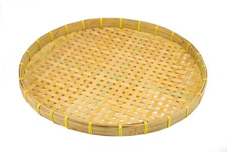 Webbed Bamboo Tray isolated on white photo