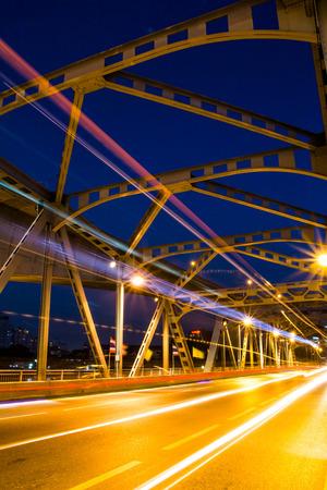 beam of light: Krungthep Bridge beam light in Bangkok Stock Photo