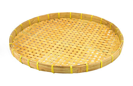 rattan mat: Webbed Bamboo Tray isolated on white Stock Photo